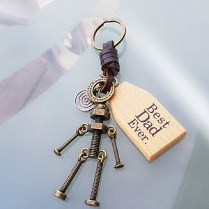 Best dad ever screw robot keychain